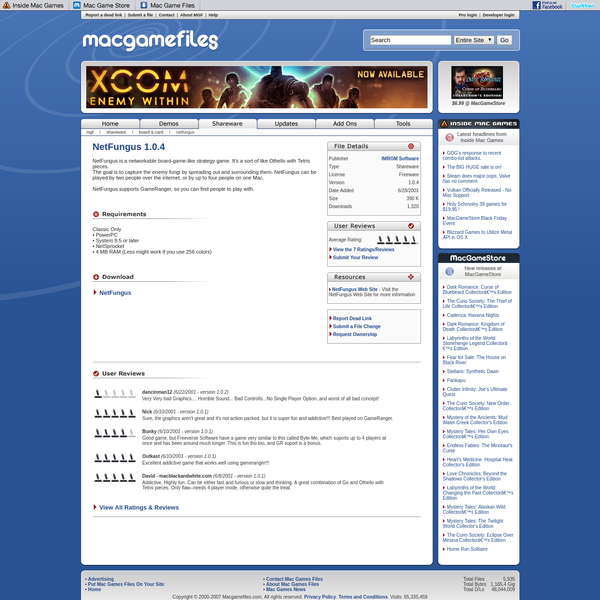 Mac game downloads including free mac games demos, shareware, updaters, add-ons, movies, and more.