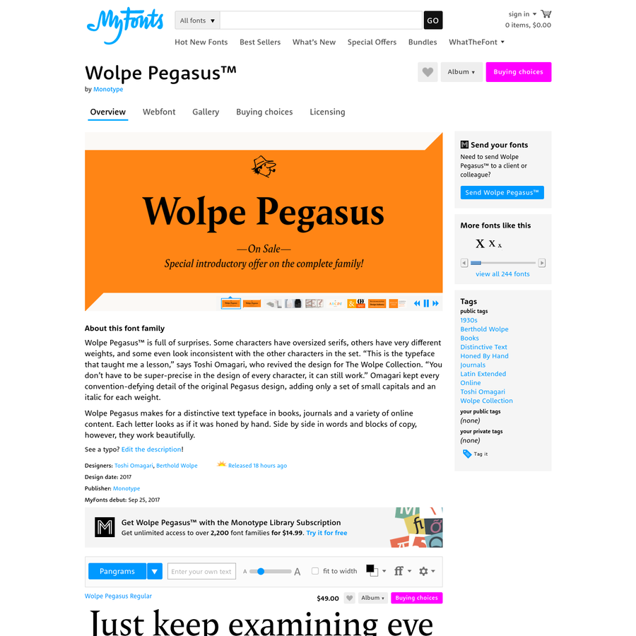 """Wolpe Pegasus™ is full of surprises. Some characters have oversized serifs, others have very different weights, and some even look inconsistent with the other characters in the set. """"This is the typeface that taught me a..."""