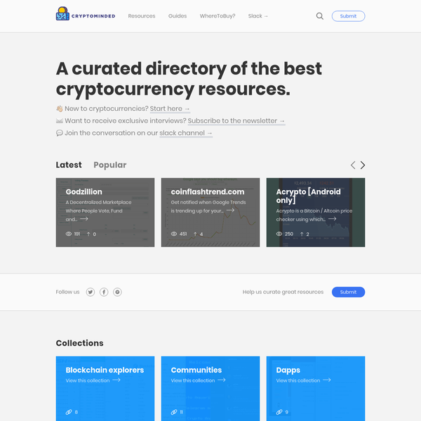 Cryptominded - Curated directory of cryptocurrency resources