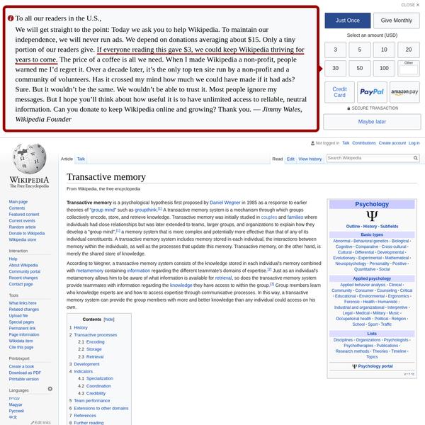 Transactive memory - Wikipedia