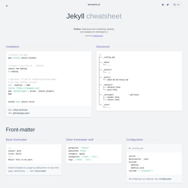 A comprehensive cheatsheet for Jekyll.