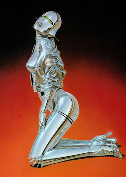 "In the late 1990's, Sorayama was approached by the Sony Corporation to design an organic robotic form. It became the famous ""AIBO"" dog, now in the collection of the Museum of Modern Art and then Smithsonian Institute of Technology. Intrigued by the effects of light on various metallic surfaces, and always ready for challenges to his technique and imagination, he began to produce a series of female robotic figures in the late 1970¹s; anatomically correct in form, but appearing to have been fashioned of molten silver. The term ""sexy robot"" was coined to describe them.  The term ""Gynoids"" was created by the female British SF writer, Gwyneth Jones, and developed by another British writer, Richard Calder. The word is a combination of ""droid"" (greek ""in the image of"") and ""gyn"" (greek ""woman"").These female cyborgs of Sorayama combine elements both human and mechanical. The soft, sensuous body parts are cleverly intertwined with inorganic, machine-like connections and protrusions to create entrancing images which embody complex and subtle tensions."