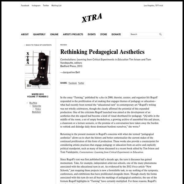"""In the essay """"Turning,"""" published by e-flux in 2008, theorist, curator, and organizer Irit Rogoff responded to the proliferation of art making that engages themes of pedagogy or education-what had recently been termed the """"educational turn"""" in contemporary art.{{1}}[[1]]Irit Rogoff, """"Turning"""" e-flux"""