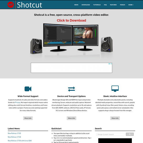 Shotcut is a free, open source, cross-platform video editor for Windows, Mac and Linux