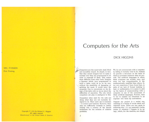 Dick Higgins – Computer for the Arts – 1970