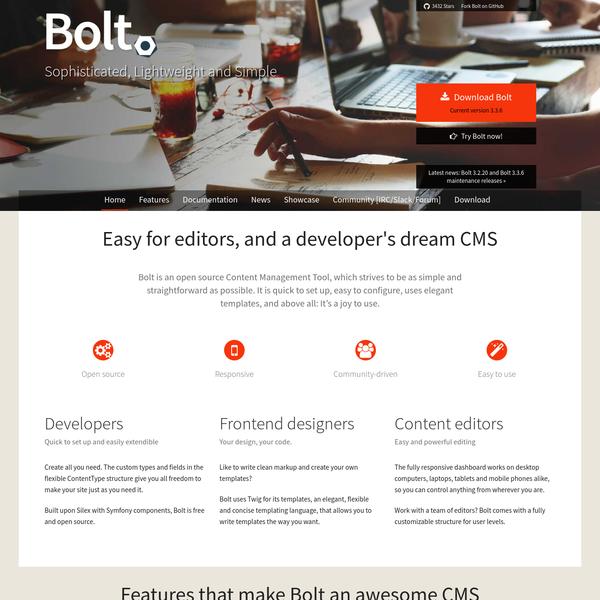 Bolt CMS: Easy for editors, and a developer's dream CMS | Bolt CMS