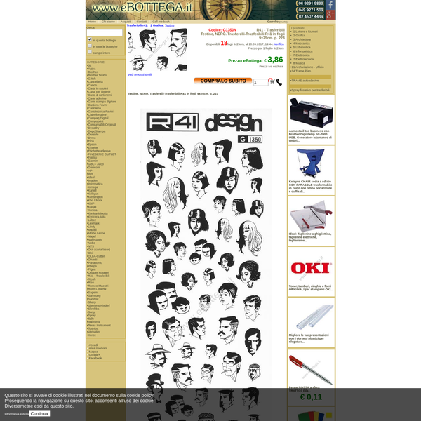 eBottega.it informazioni per l'acquisto. G1350N: Testine, NERO. Trasferelli-Trasferibili R41 in fogli 9x25cm. p. 223 , € 3,86