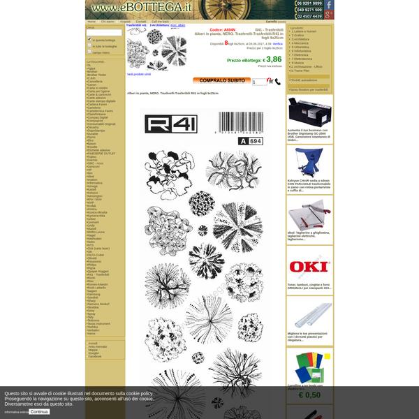 eBottega.it informazioni per l'acquisto. A694N: Alberi in pianta, NERO. Trasferelli-Trasferibili R41 in fogli 9x25cm , € 3,86