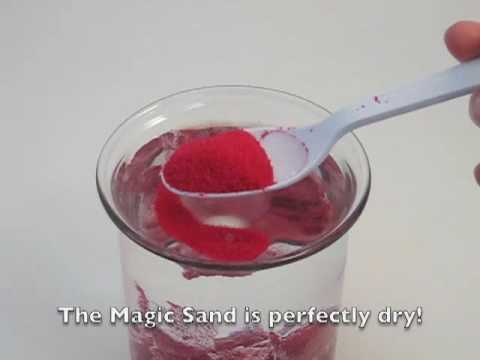 "Magic Sand is regular sand with a ""hydrophobic"" coating. It will not mix with water, and stays dry even when submerged! Available from Educational Innovations, Inc. at https://www.teachersource.com/product/magic-sand/chemistry-hydro"