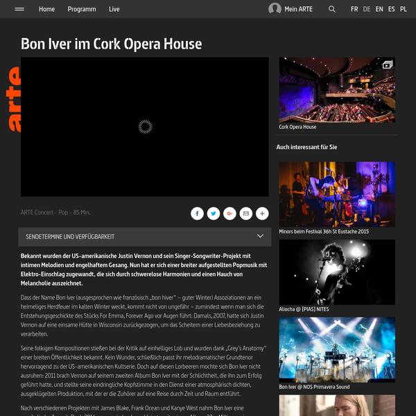 Bon Iver im Cork Opera House | ARTE Concert | ARTE