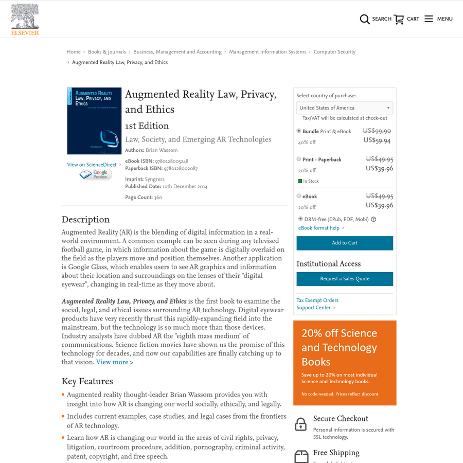 Purchase Augmented Reality Law, Privacy, and Ethics - 1st Edition. Print Book & E-Book. ISBN 9780128002087, 9780128005248