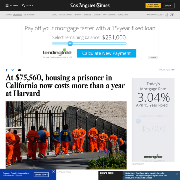 The cost of imprisoning each of California's 130,000 inmates is expected to reach a record $75,560 in the next year That's enough to cover the annual cost of attending Harvard University and still have plenty left over for pizza and beer Gov.