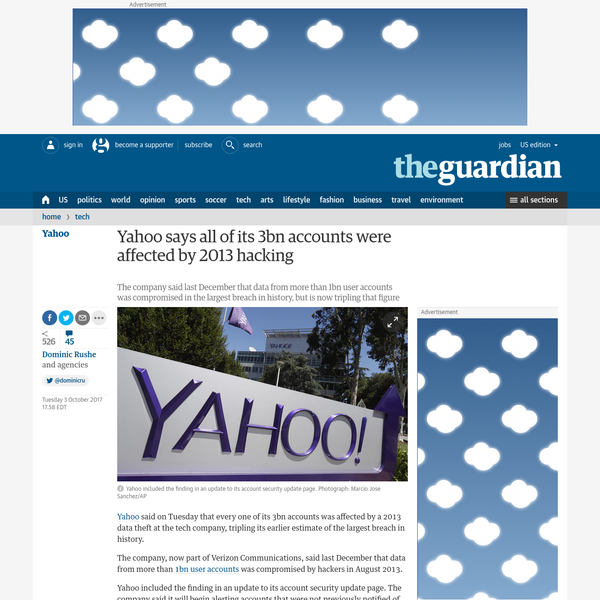 Yahoo says all of its 3bn accounts were affected by 2013 hacking
