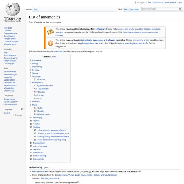 List of mnemonics - Wikipedia