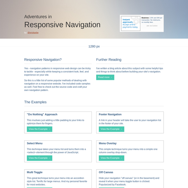 Some Final Thoughts Navigation in RWD can be tough! Responsive Web Design can be a fickle thing - especially if you are retro-fitting an existing website. There are lots of things to think about: What breakpoints should I use? How should I handle images? How can I optimize load time for mobile users?