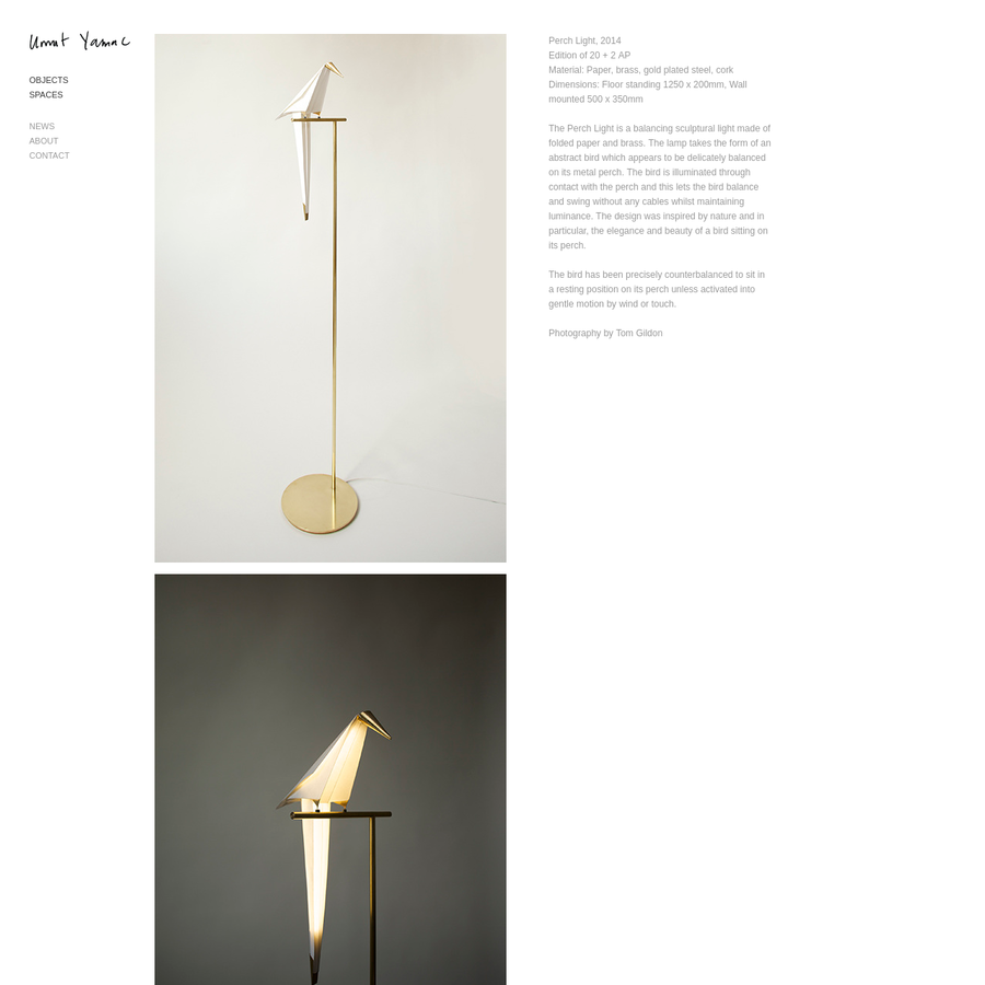 Perch Light, 2014 Edition of 20 + 2 AP Material: Paper, brass, gold plated steel, cork Dimensions: Floor standing 1250 x 200mm, Wall mounted 500 x 350mm The Perch Light is a balancing sculptural light made of folded paper and brass. The lamp...