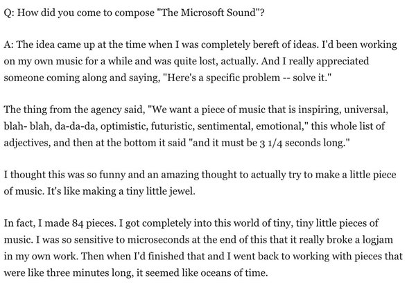 Brian Eno re composing the MS chime / creative process