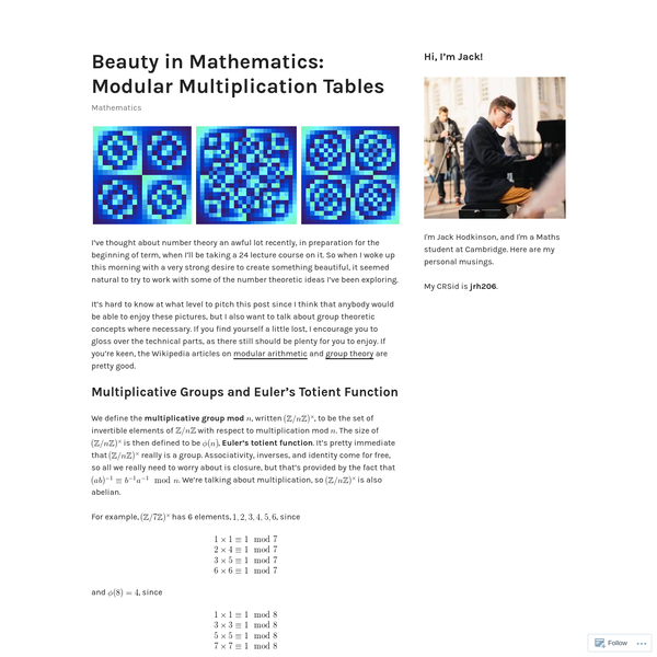 Beauty in Mathematics: Modular Multiplication Tables
