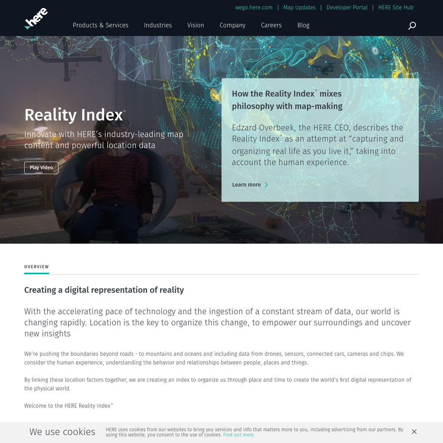 HERE Reality Index provides time and space data to understand usage, behavior and relationships between people, places and things.