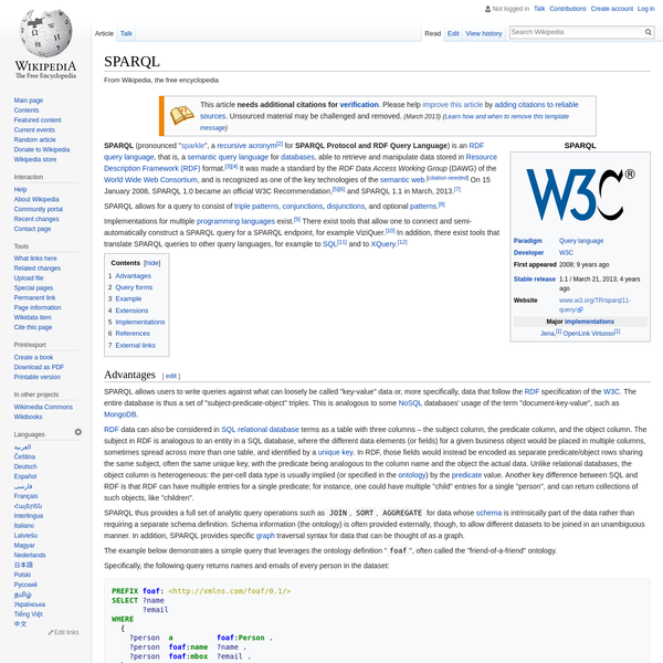 """SPARQL (pronounced """" sparkle"""", a recursive acronym for SPARQL Protocol and RDF Query Language) is an RDF query language, that is, a semantic query language for databases, able to retrieve and manipulate data stored in Resource Description Framework (RDF) format."""