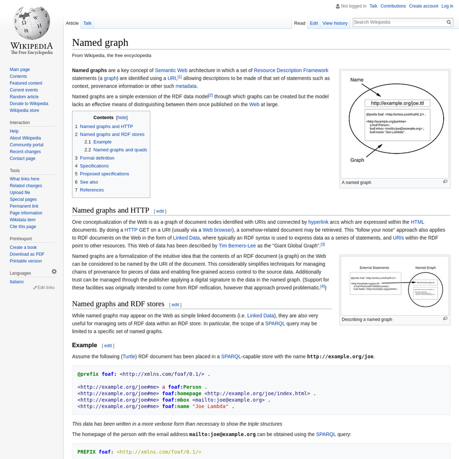 Named graphs are a key concept of Semantic Web architecture in which a set of Resource Description Framework statements (a graph) are identified using a URI, allowing descriptions to be made of that set of statements such as context, provenance information or other such metadata.