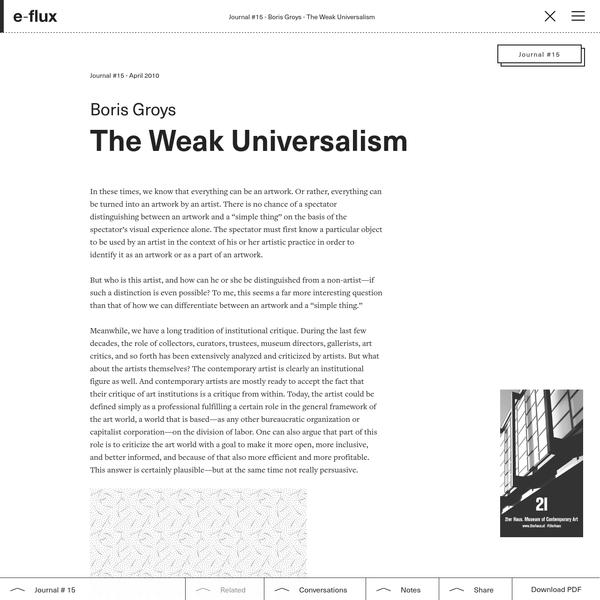 The Weak Universalism - Journal #15 April 2010 - e-flux