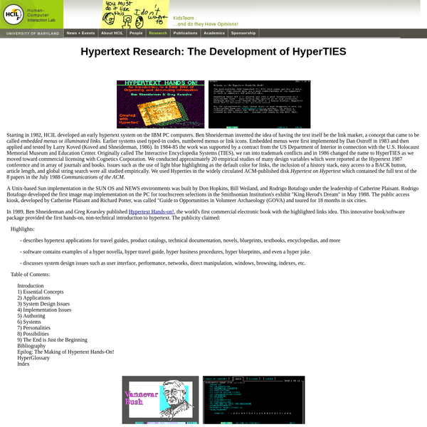 Hypertext Research: The Development of HyperTIES