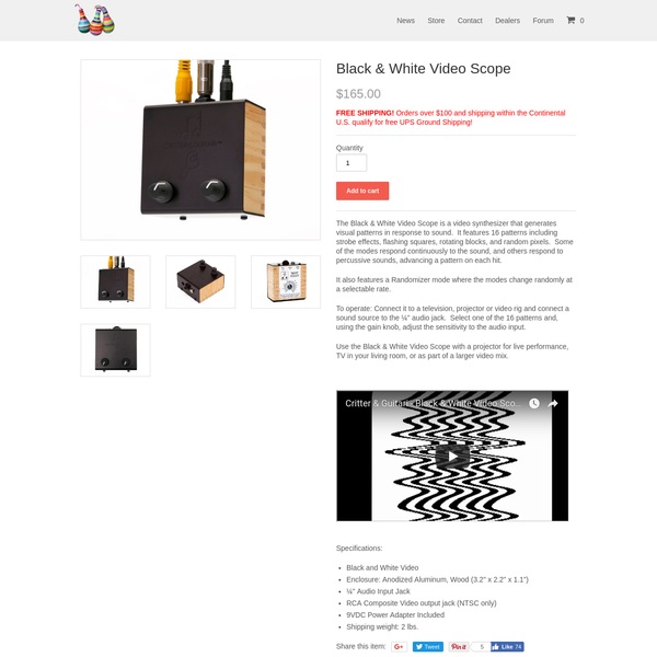 The Black & White Video Scope is a video synthesizer that generates visual patterns in response to sound. It features 16 patterns including strobe effects, flashing squares, rotating...