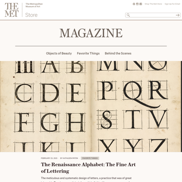 The Renaissance Alphabet | The Met Store Magazine
