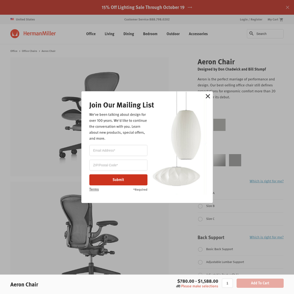 Order your Aeron Chair. An original design by Bill Stumpf and Don Chadwick, this ergonomic office chair is manufactured by Herman Miller.