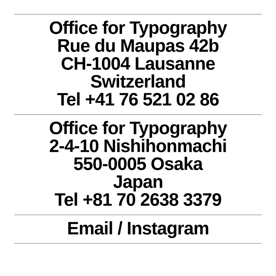 Office for Typography - Graphic Design, Type Design, Font Engineering