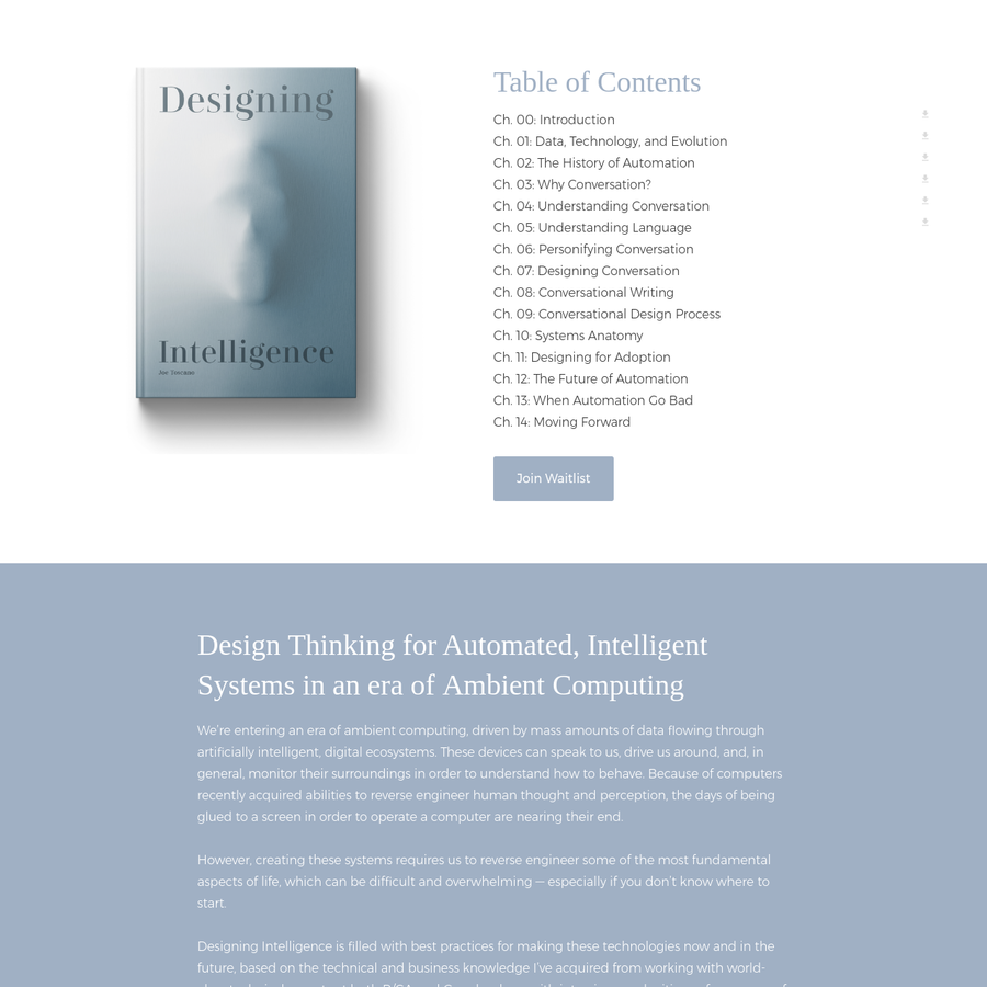 Designing Intelligence is a book that outlines a Design Thinking approach to Automated Systems Design