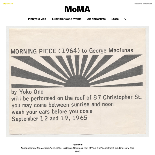 "Yoko Ono. Announcement for Morning Piece (1964) to George Maciunas, roof of Yoko Ono's apartment buildling, New York. 1965. Offset lithograph. sheet: 8 9/16 x 11"" (21.8 x 27.9 cm); envelope: 4 1/8 x 9 7/16"" (10.5 x 24 cm). The Gilbert and Lila Silverman Fluxus Collection Gift. 3185.2008."