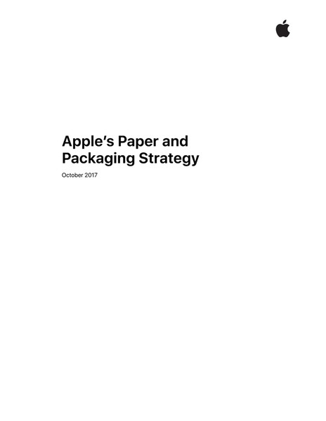 Apple's Paper and Packaging Strategy, October 2017