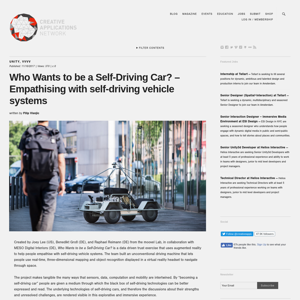 Created by Joey Lee (US), Benedikt Groß (DE), and Raphael Reimann (DE) from the moovel Lab, in collaboration with MESO Digital Interiors (DE), Who Wants to be a Self-Driving Car?