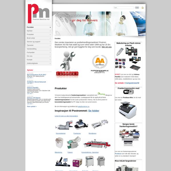 Den norske importøren av frankeringsmaskiner, konvolutteringsmaskiner og makuleringsmaskiner: Postrom Maskiner AS