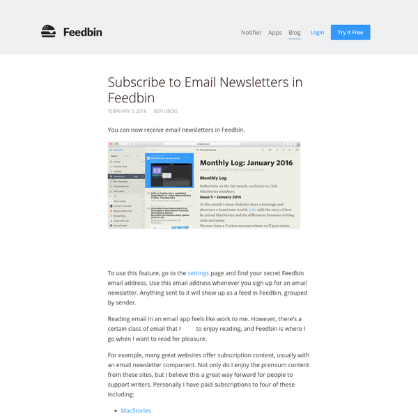 You can now receive email newsletters in Feedbin.