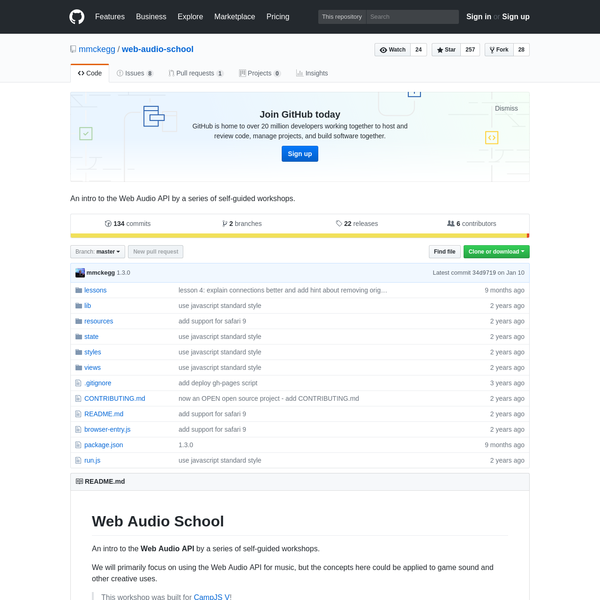 web-audio-school - An intro to the Web Audio API by a series of self-guided workshops.
