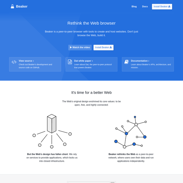 Beaker is a new peer-to-peer browser for a Web where users control their data and websites are hosted locally.