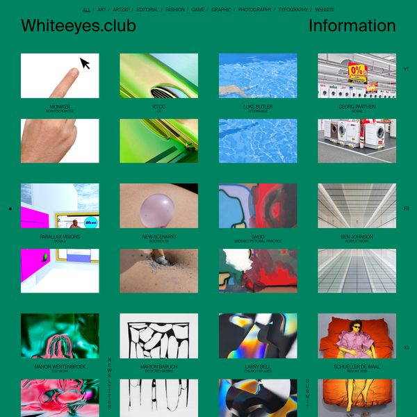 Whiteeyes is a media showcasing art created by Anne Wiss, Antoine Enault and Ondine Vermenot. We publish new content every day and offer an ArtZap every friday.
