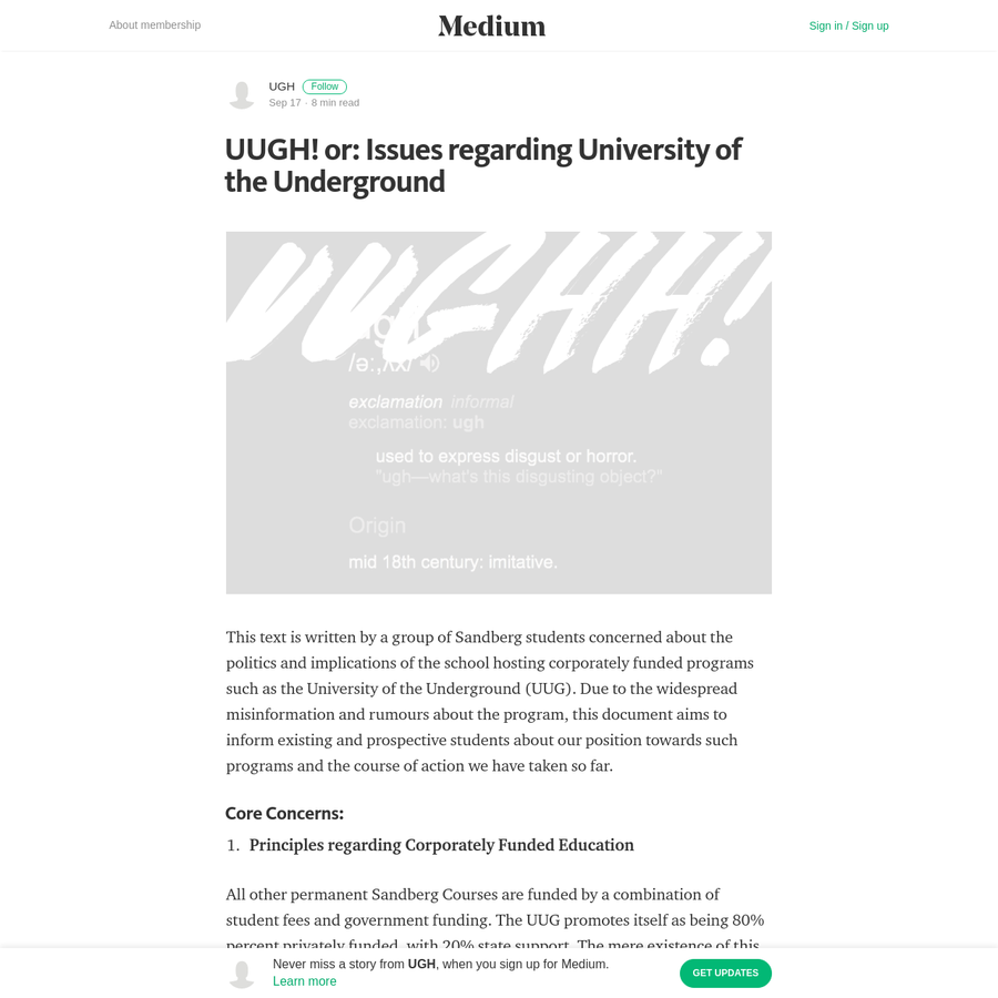 The Story So Far: The first time students were directly made aware of the University of the Underground was at the Instituut's public open day on the 4th of February 2016-at which point the UUG had already been established, administered was soliciting applications.