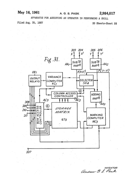 """Pask, Gordon. """"US patent 2984017 A: Apparatus for assisting an operator in performing a skill"""""""