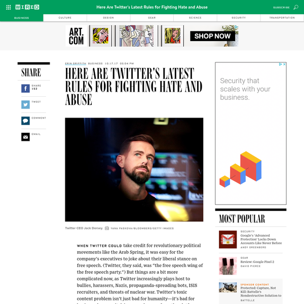 """When Twitter could take credit for revolutionary political movements like the Arab Spring, it was easy for the company's executives to joke about their liberal stance on free speech. (Twitter, they said, was """"the free speech wing of the free speech party."""") But things are a bit more complicated now, as Twitter increasingly plays host to bullies, harassers, Nazis, propaganda-spreading bots, ISIS recruiters, and threats of nuclear war."""