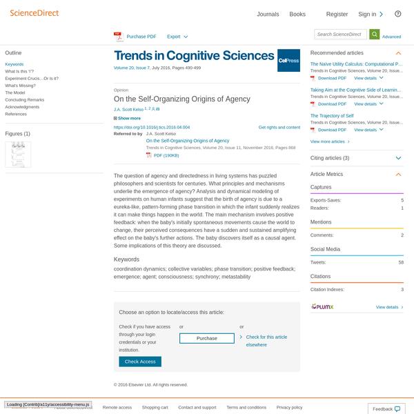 On the Self-Organizing Origins of Agency - ScienceDirect