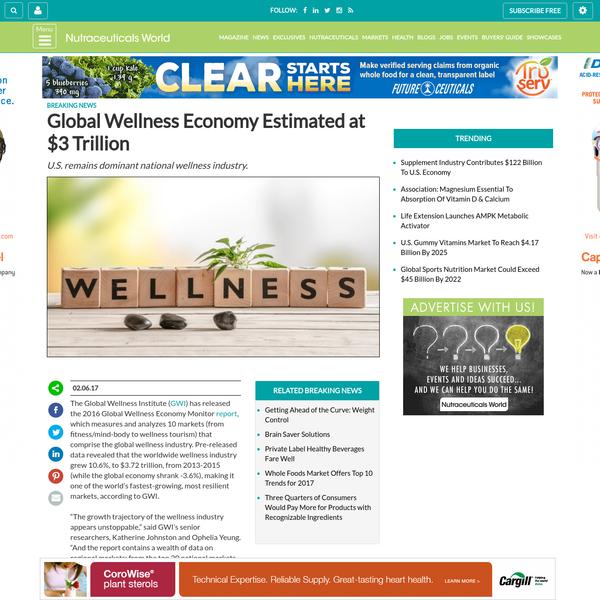 Global Wellness Economy Estimated at $3 Trillion