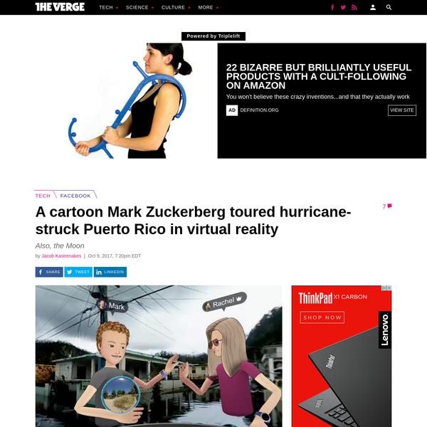 A cartoon Mark Zuckerberg toured hurricane-struck Puerto Rico in virtual reality