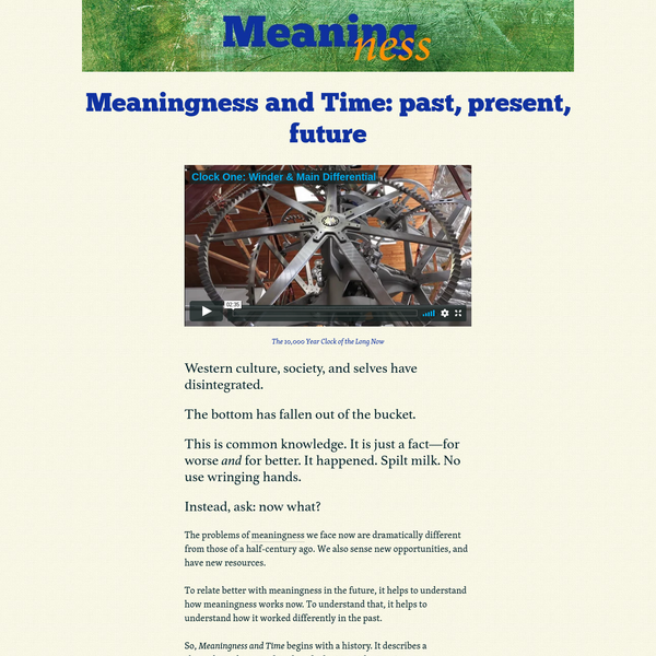 Meaningness and Time: past, present, future
