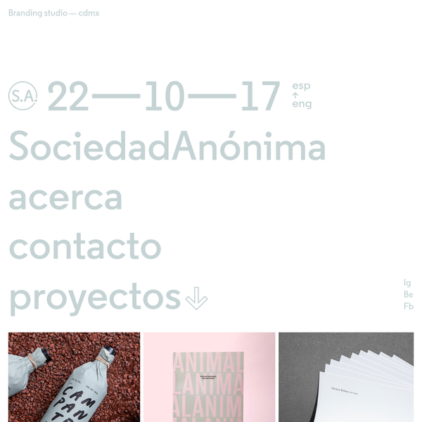 S.A. is graphic design and visual communication firm based in Mexico City whose works include graphic identity, branding, editorial design, art direction, web design and app design.