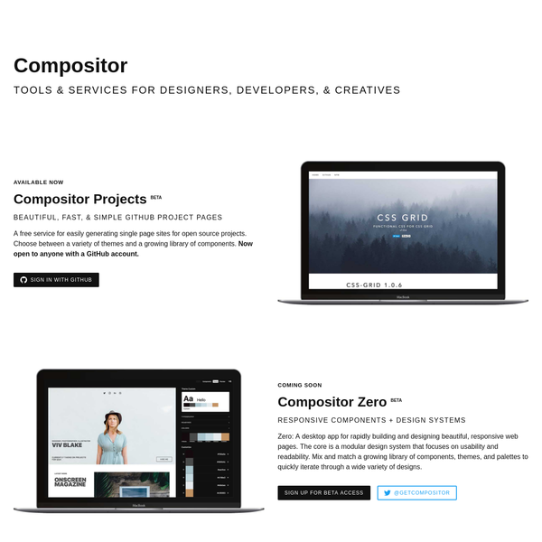 Compositor: Tools & Services for Designers, Developers, & Creatives