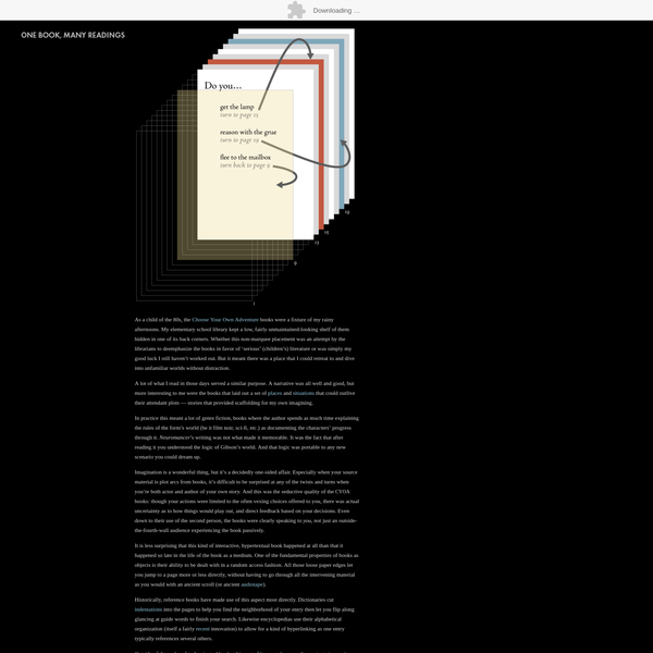 In this example book, page one is a 'branching' decision, meaning there are at least two choices offered to the reader. The second page is a 'story' page, meaning that it was either a text page that had a single forced choice (e.g., 'To continue, turn to page 30'), or an illustration page outside of the stream of the story.